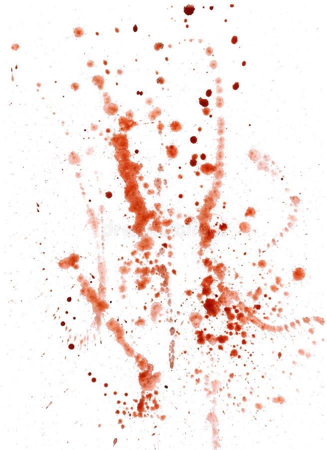 Splatters, splinter, blotches, blots and blobs of paint. On white paper stock illustration