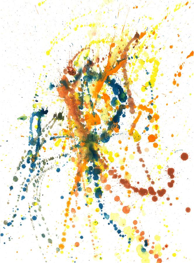 Splatters, splinter, blotches, blots and blobs of paint. On white paper royalty free illustration