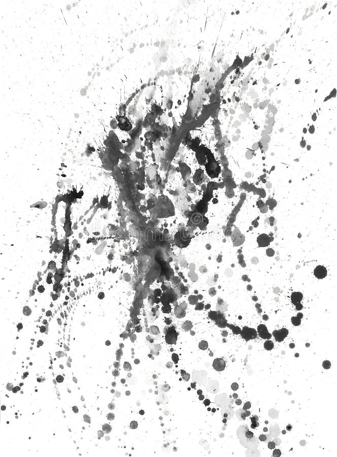 Splatters, splinter, blotches, blots and blobs of paint. On white paper vector illustration