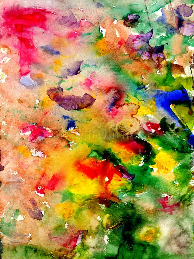 Splatters and stains - watercolor artistic background. Hand drawn stock illustration