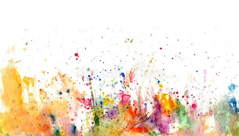 Splatters and stains on white paper - watercolor artistic background. Hand drawn stock illustration