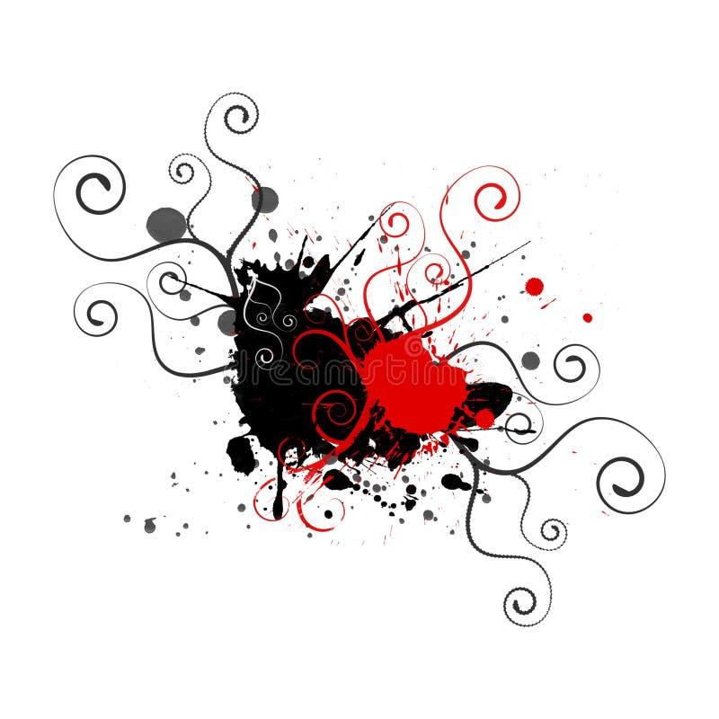 splatters svart red för bakgrund swirls stock illustrationer