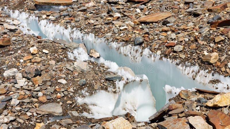 Spleet bij Baltoro-Gletsjer stock afbeeldingen