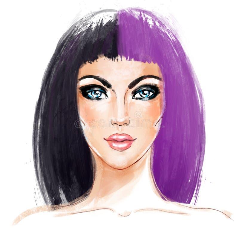 Spleet-geverfte Haartendens Het gezicht van de vrouw Half Geverft Haar Stijltendens vector illustratie