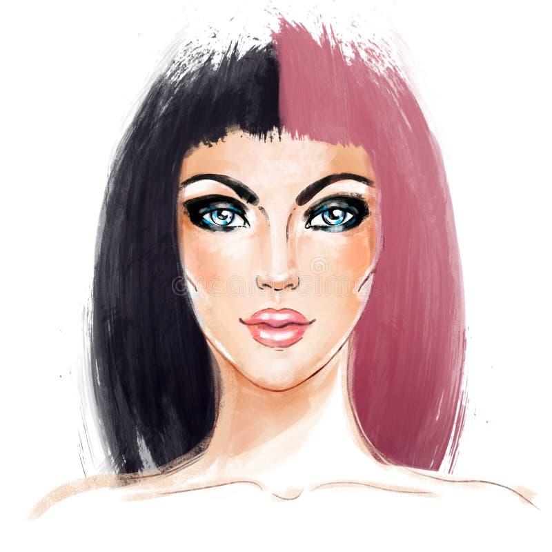 Spleet-geverfte Haartendens Het gezicht van de vrouw Half Geverft Haar Stijltendens royalty-vrije illustratie