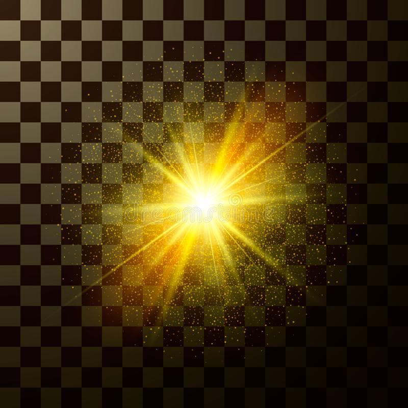 Splendere brillante della stella Progetti la luce magica con le scintille isolate su fondo trasparente Flash mistico della fantas royalty illustrazione gratis