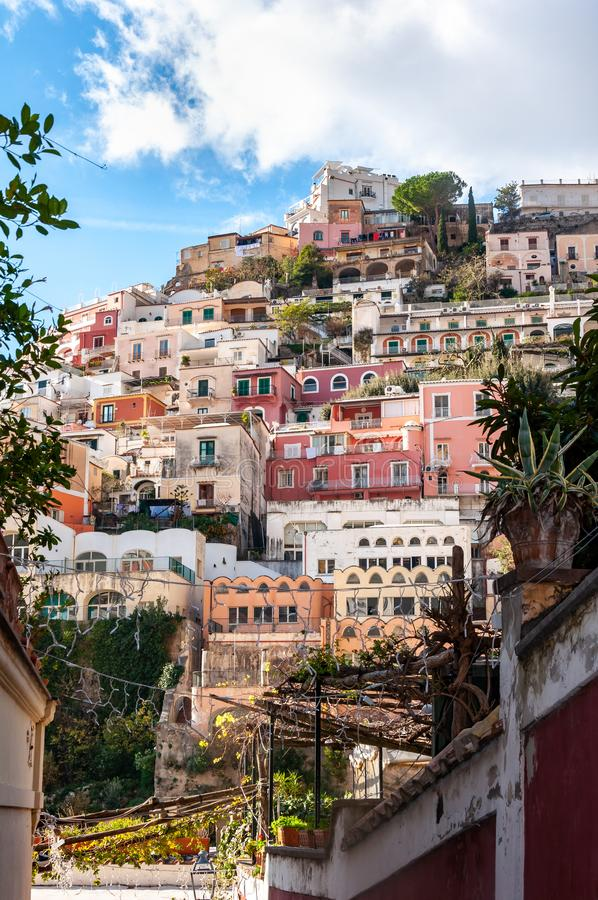 Positano, a splendid village and seaside resort on the famous Amalfi Coast, behind the Gulf of Naples and close to Amalfi, royalty free stock photo