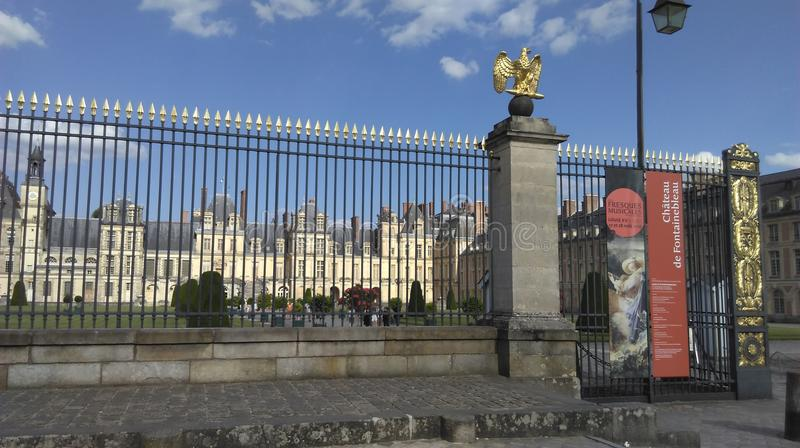 Splendid entry of the castle of Vaux le Vicomte stock photography