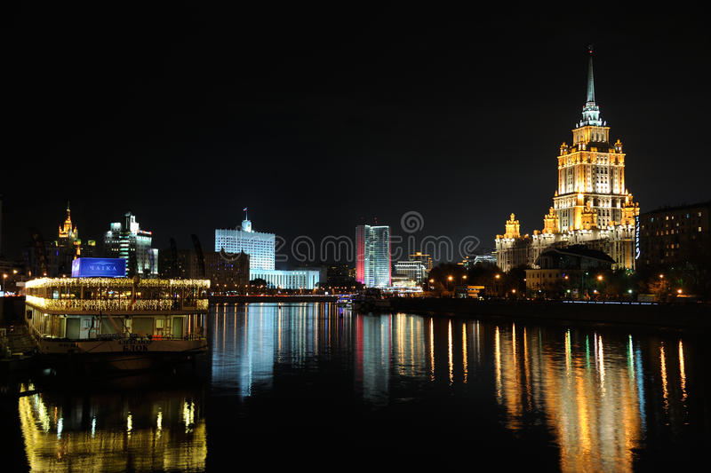 Splendid Nightscape of Moscow City at Moskva River stock photography