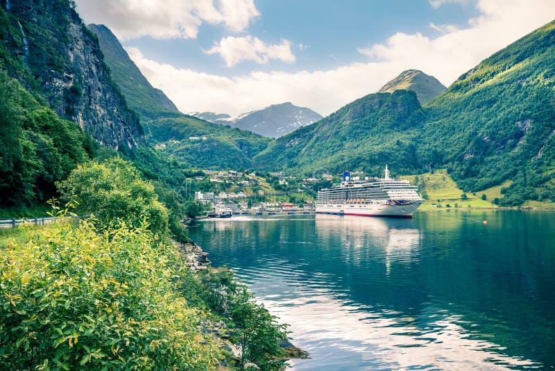 Splendid summer scene of Geiranger port, western Norway. Marvelous view of Sunnylvsfjorden fjord. Traveling concept background. stock image