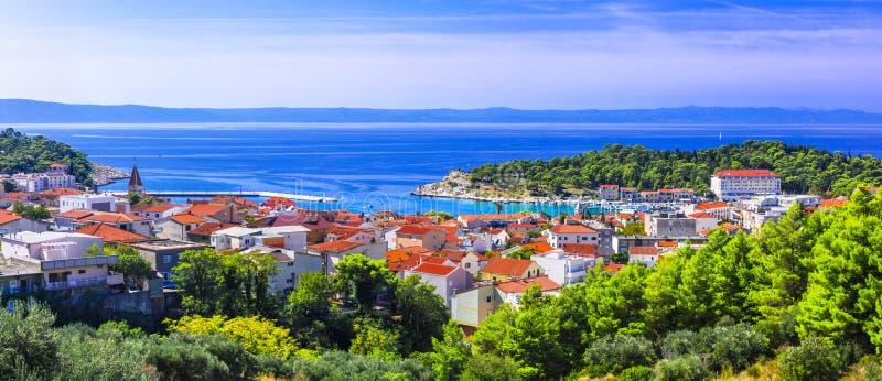 Splendid view of beautiful Adriatic coast. Makarska riviera in Croatia royalty free stock photography