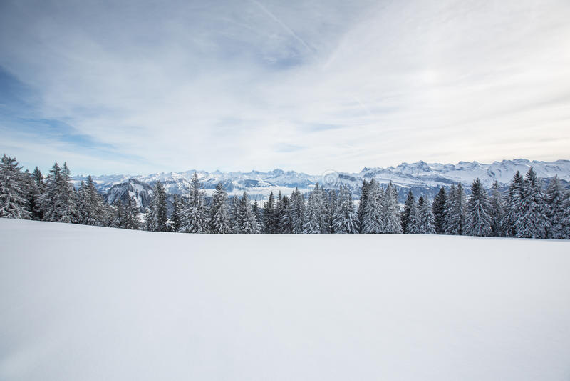 Splendid winter alpine scenery royalty free stock photo