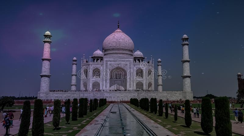 Splendour of the Taz Mahal at agra India october 2018. Monument, architecture, mughals, wonder, 7th, mesmerizing, awesome, splendid, sahajahan, 1620s, ofbthe royalty free stock images