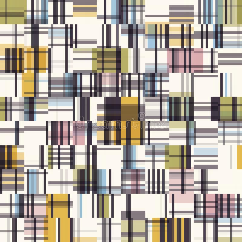 Free Spliced Plaid Check Grid Variegated Background. Seamless Pattern With Woven Dye Broken Lines. Mid Century Modern Textile All Over Royalty Free Stock Image - 165579946