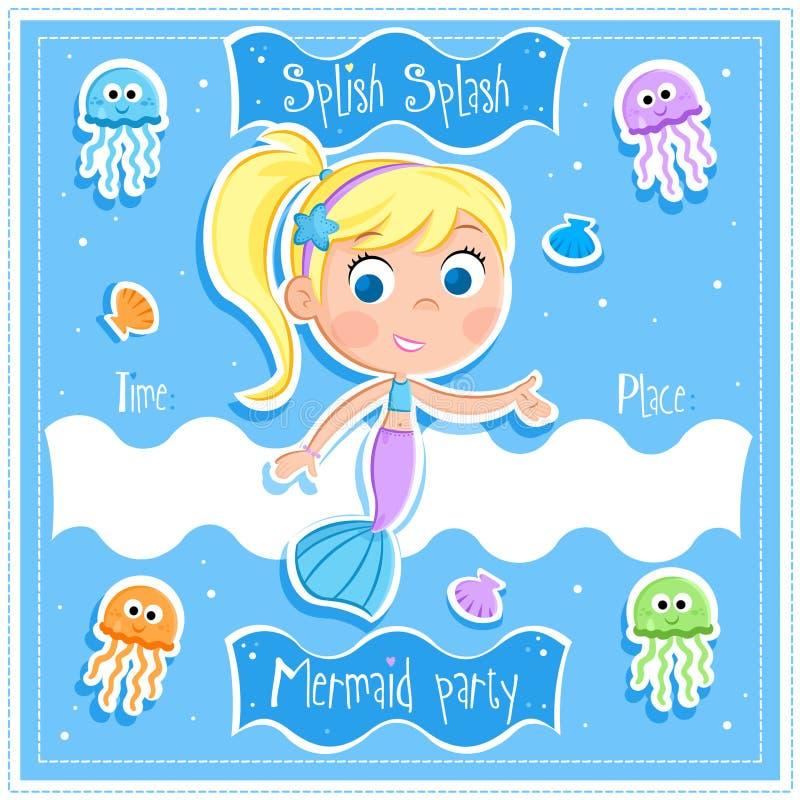 Splish Splash - Mermaid Party - Invitation Card Stock Illustration ...