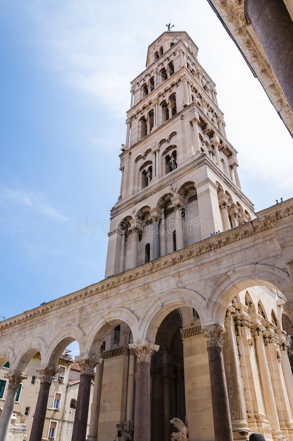 Bell tower. Cathedral of Saint Domnius. Medieval architecture. Split. royalty free stock photos