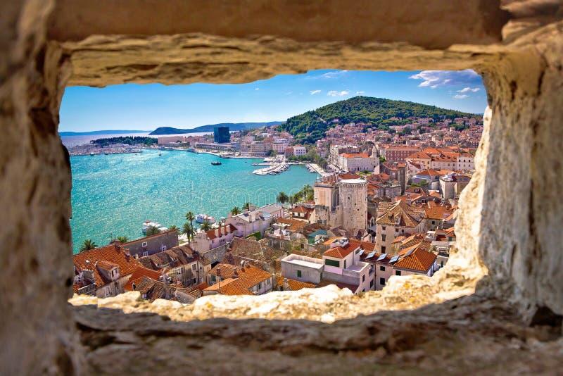 Split bay aerial view through stone window. Dalmatia, Croatia royalty free stock images
