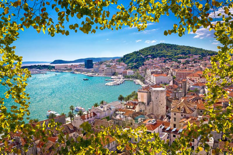 Split bay aerial view through tree leaves lazer. Dalmatia, Croatia stock photo