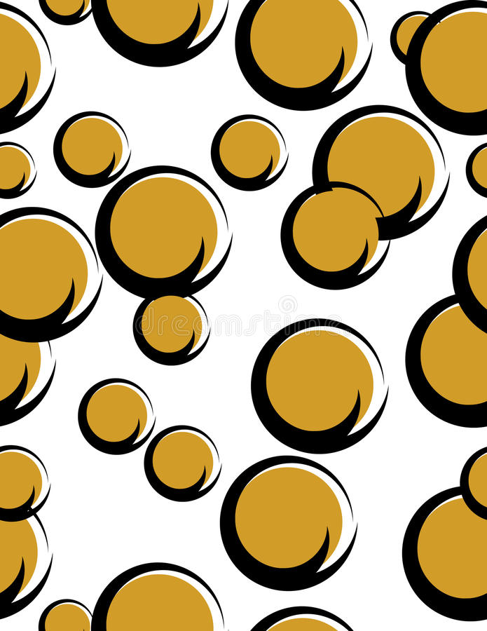 Split-circle Seamless. Brown disks with black rims are featured in a seamless abstract background vector illustration royalty free illustration