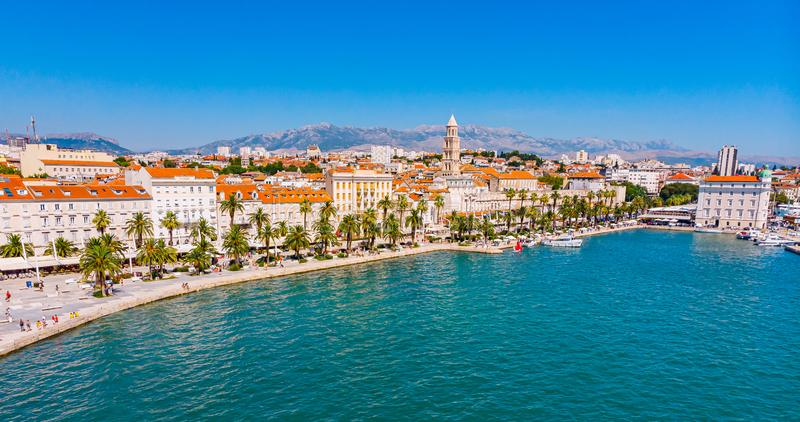 Split in Croatia from above. Split in croatia from, aerial, architecture, oldarchitecture, adriatic, dalmatia, palm, walk, people, cit, city, town, townscape stock photos