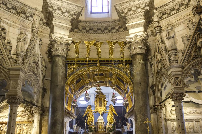 Interiors of Saint Domnius Cathedral in Split, with its golden altar royalty free stock photo
