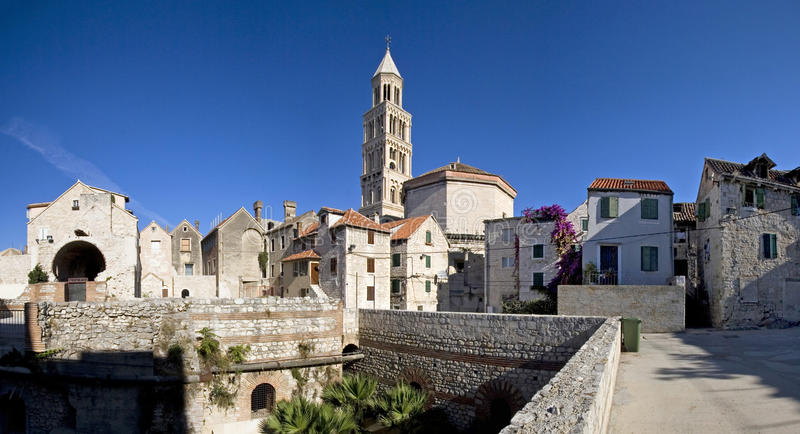 Split, Croatia - Diocletian Palace, southeastern view. Diocletian Palace is a building in Split, Croatia, that was built by the Roman emperor Diocletian at the royalty free stock photos