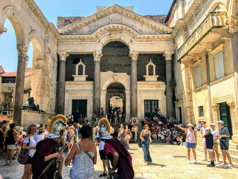 The old square inside the ancient roman landmark,  Diocletians Palace royalty free stock photo
