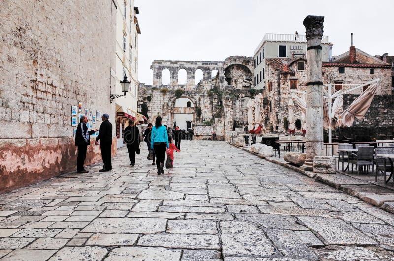 Split`s Old Town, SPLIT, CROATIA. SPLIT, CROATIA - NOVEMBER 5, 2014 : Split`s Old Town royalty free stock photography