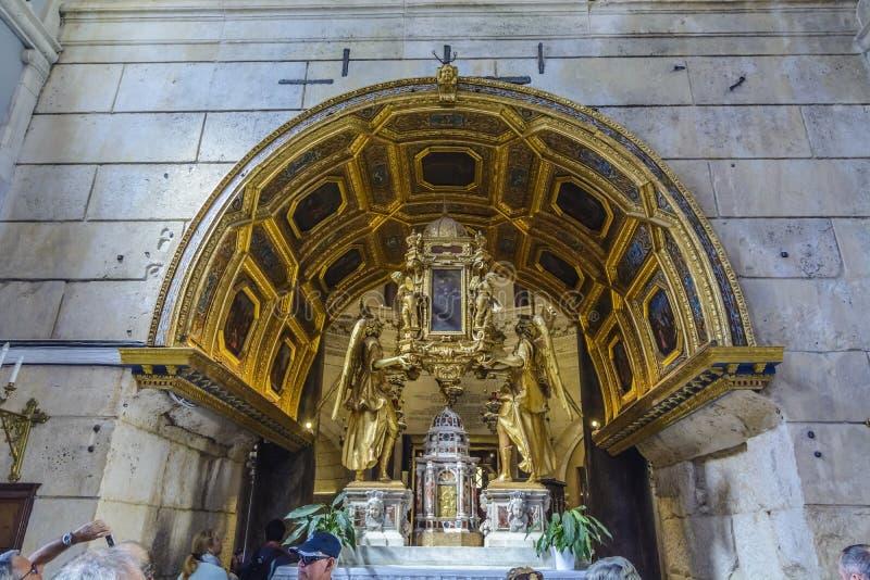 SPLIT, CROATIA, OCTOBER 01, 2017: Interiors of Saint Domnius Cat royalty free stock photo