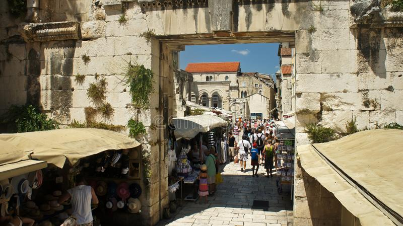 Split, Croatia - 07/22/2015 - Ruins of historic city, old walls and Eastern Silver Gate view, sunny day, Dalmatia stock image