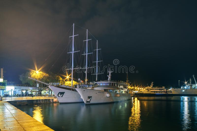 Split, Croatia. Seaport in the resort city. SPLIT, CROATIA - 24 SEPTEMBER, 2015: The seaport of Split is located on the Adriatic Sea. Cruise ships are moored to stock image