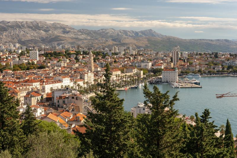 Split Croatia view of the city. Europe architecture. harbor boats stock photos