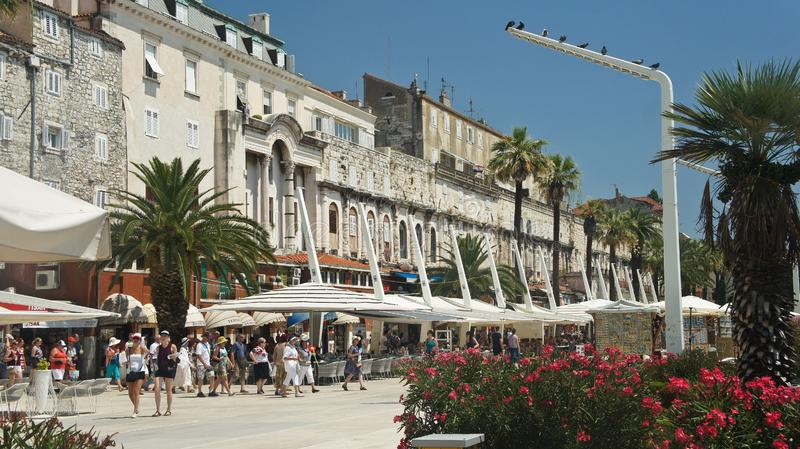 Split, Croatia - 07/22/2015 - View of the Waterfront Promenade, street with houses and cafes in old town, beautiful architecture, royalty free stock photo