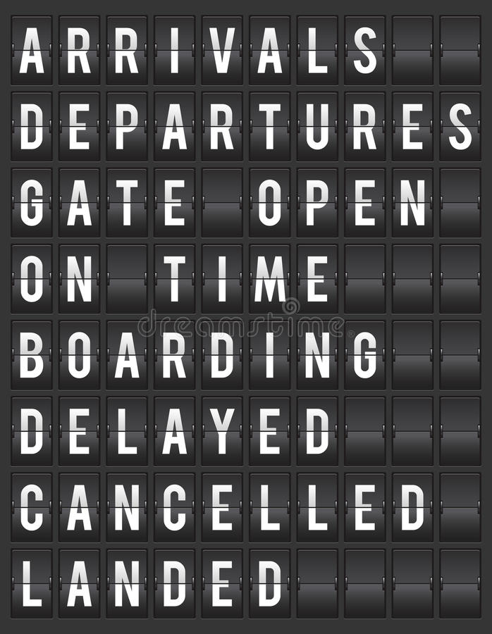 Split-flap airport information display illustration royalty free illustration