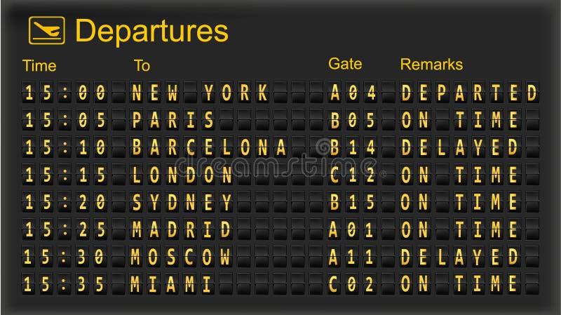 Split flap mechanical departures board. stock illustration