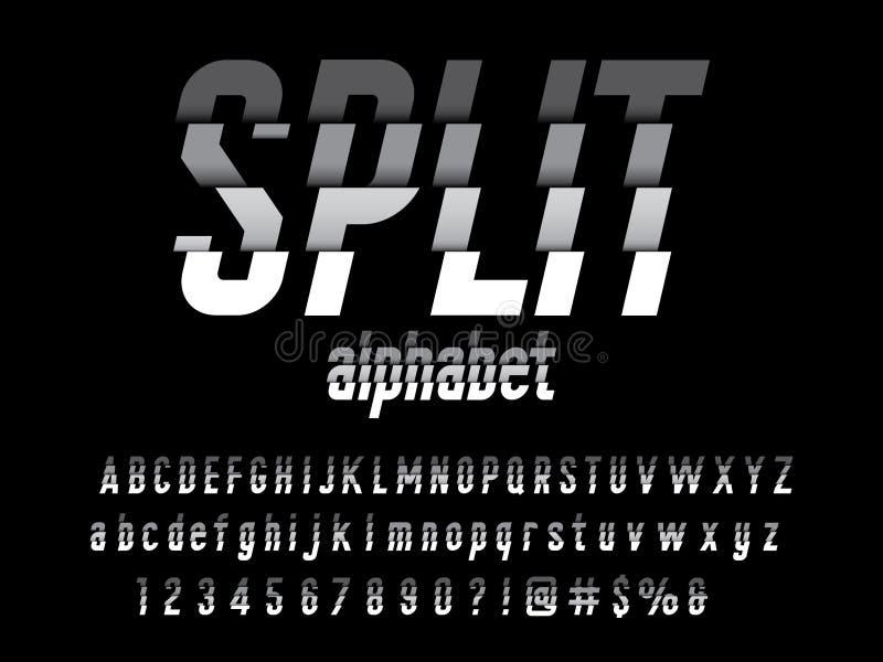 Split font. Vector of modern abstract alphabet design royalty free illustration