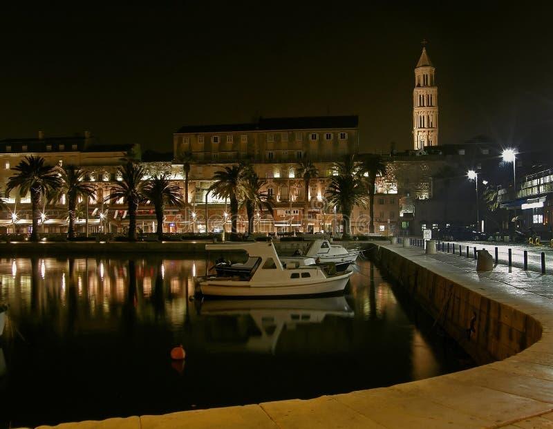 Split - harbor in the night royalty free stock image