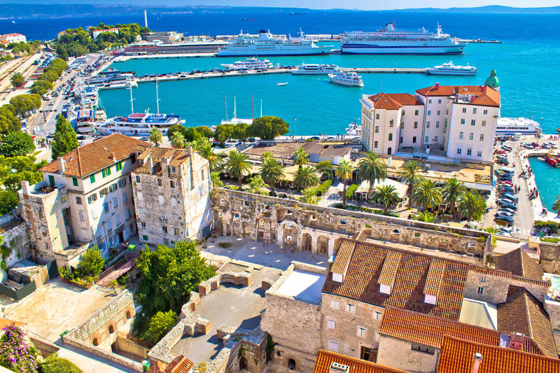 Split harbor and waterfront aerial view. Split harbor and waterfront historic architecture aerial view, Dalmatia, Croatia stock photos