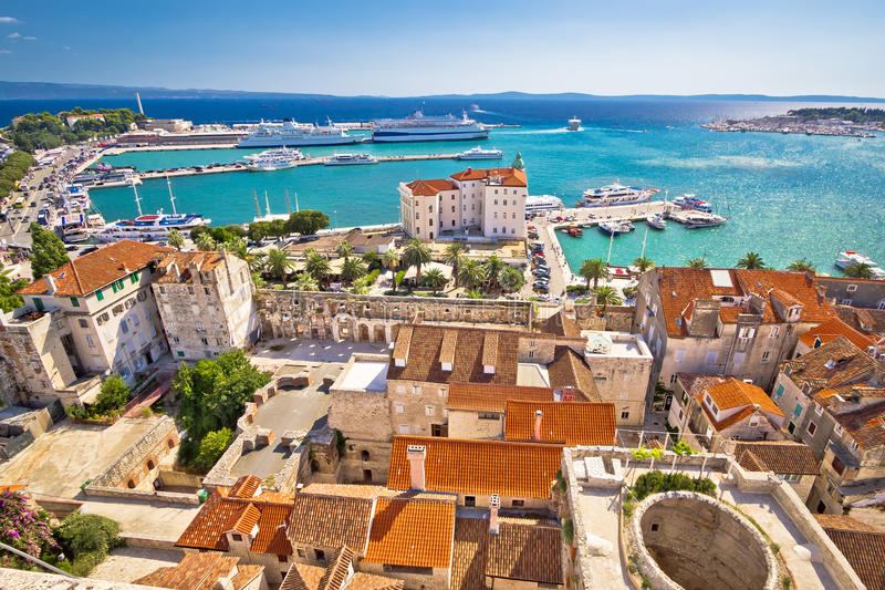 Split harbor and waterfront view. Split harbor and waterfront historic architecture aerial view, Dalmatia, Croatia stock photography