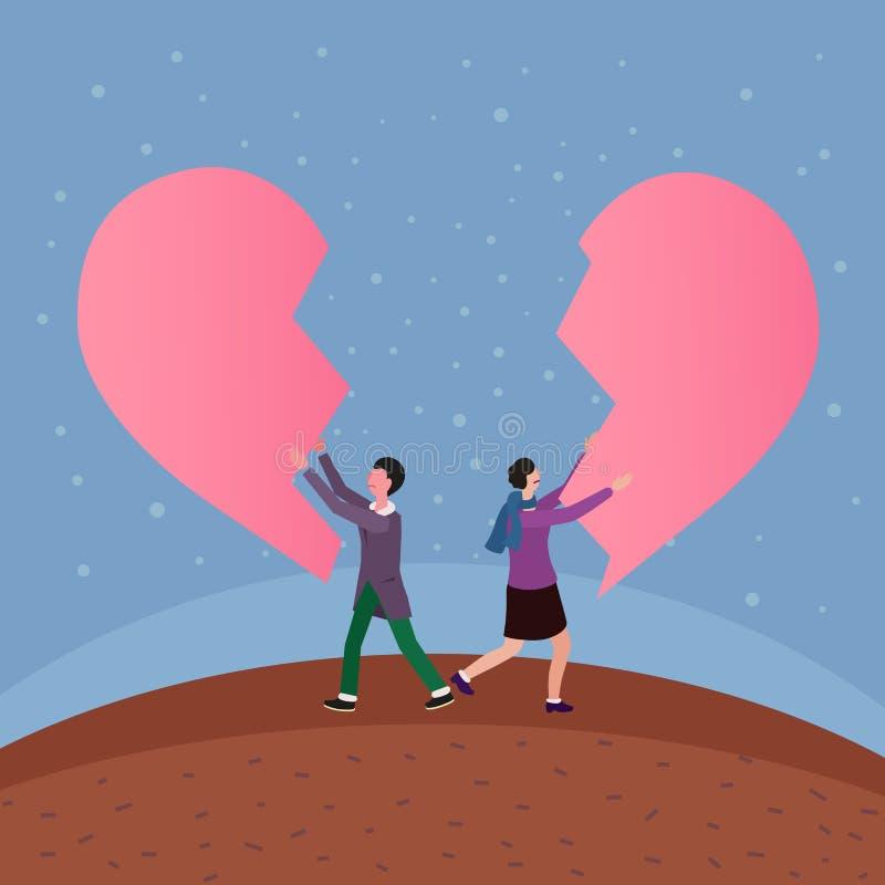 Split that heart apart, conceptual vector illustration stock illustration