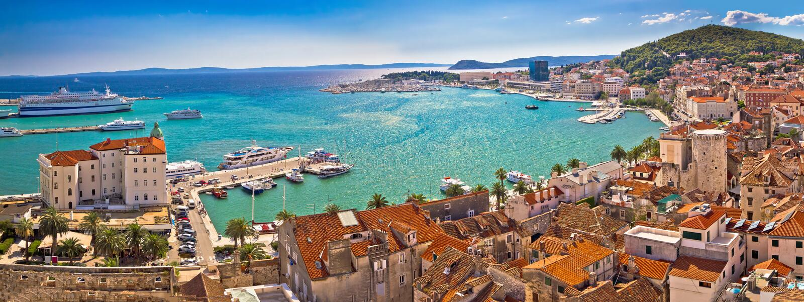 Split historic waterfront panoramic aerial view. Dalmatia, Croatia royalty free stock image