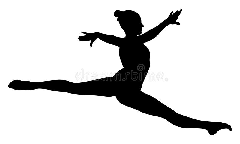 Split jump girl gymnast vector illustration