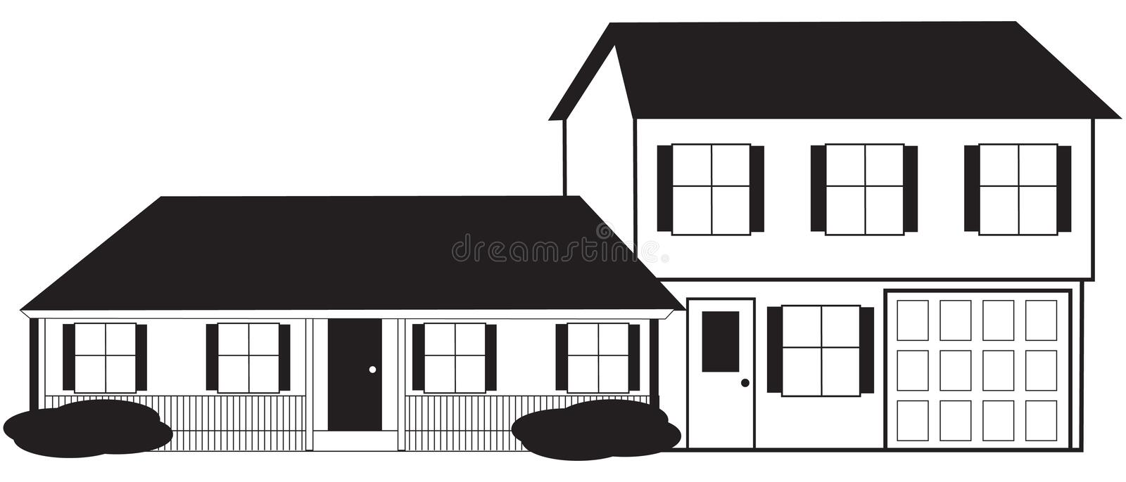Download Split Level House Sketch With Stock Vector - Image: 19390793