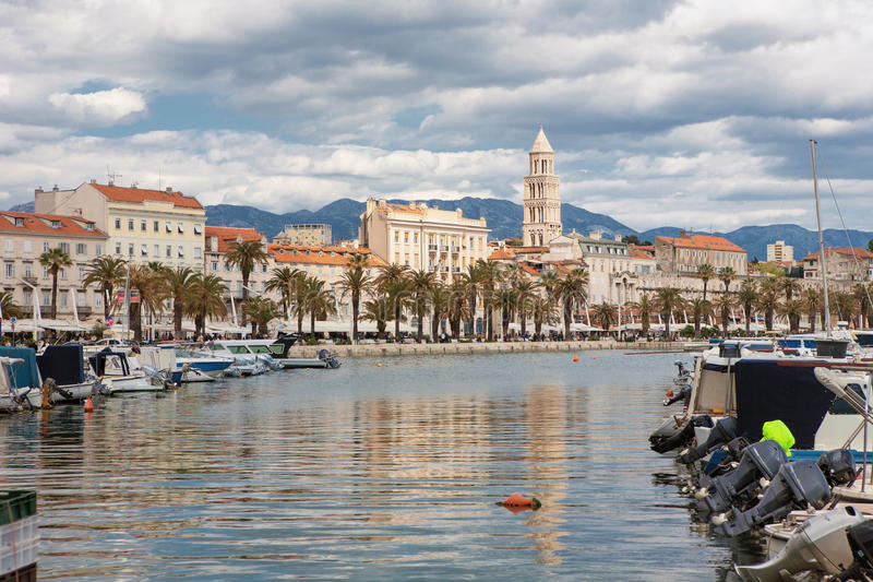 Split old town in Croatia with the Diocletian Palace stock photo