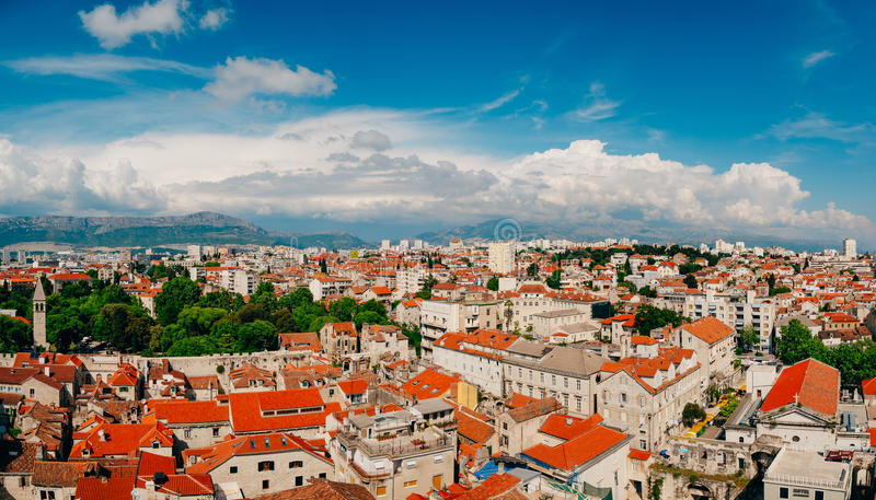 Split, old town, Croatia. View from the tower-bell tower to the. Whole city from above royalty free stock photo