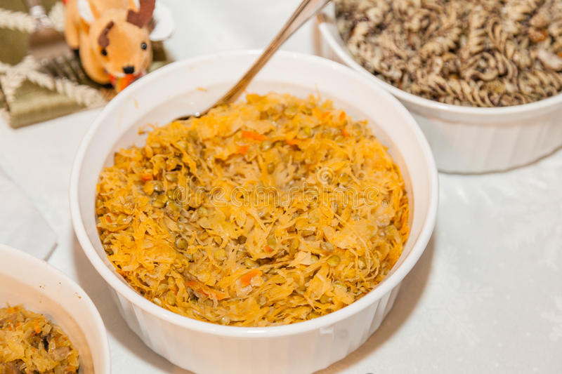 Split Peas & Cabbage. Or Kapusta z Grochem in Polish, is a traditional side dish at wigilia, Christmas Eve dinner royalty free stock image