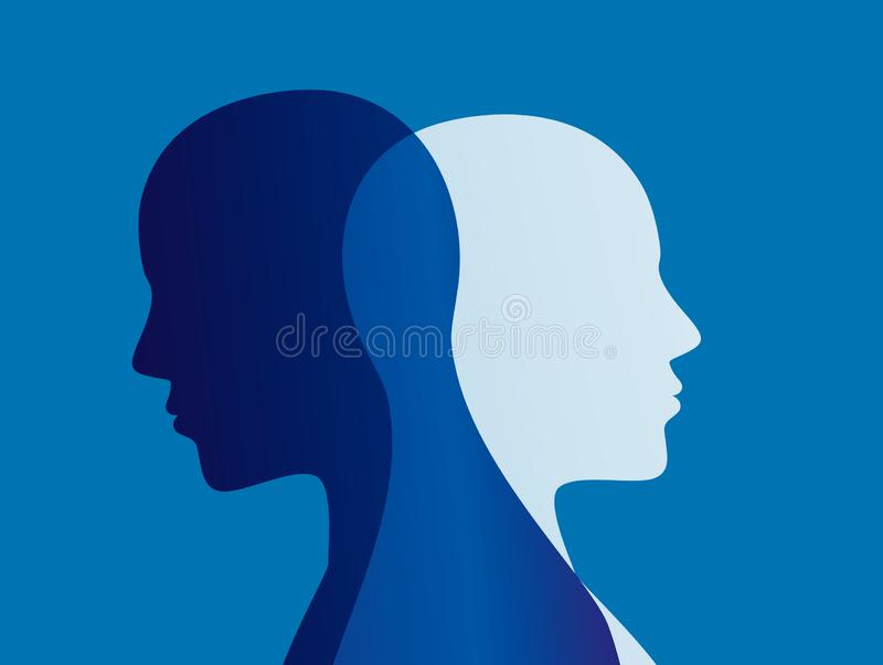 Split personality. Bipolar disorder mind mental. Mood disorder. Dual personality concept. Blue background vector illustration