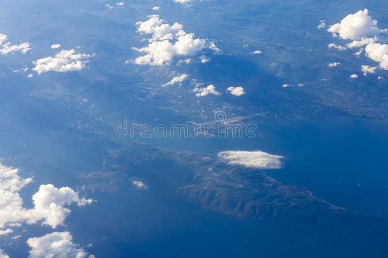Split port and Adriatic sea airplane view. Split port and Adriatic sea from Croatia and the surroundings, aerial view stock image