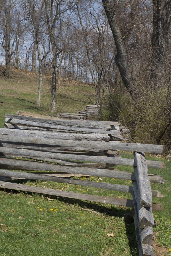 Split rail fence line royalty free stock images