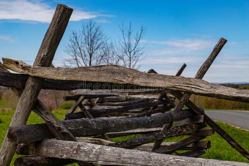 Split rail fencing on Antietam Battlefield. Sharpsburg, MD, USA - April 10, 2016: Split rail fence on the Antietam Battlefield stock photo